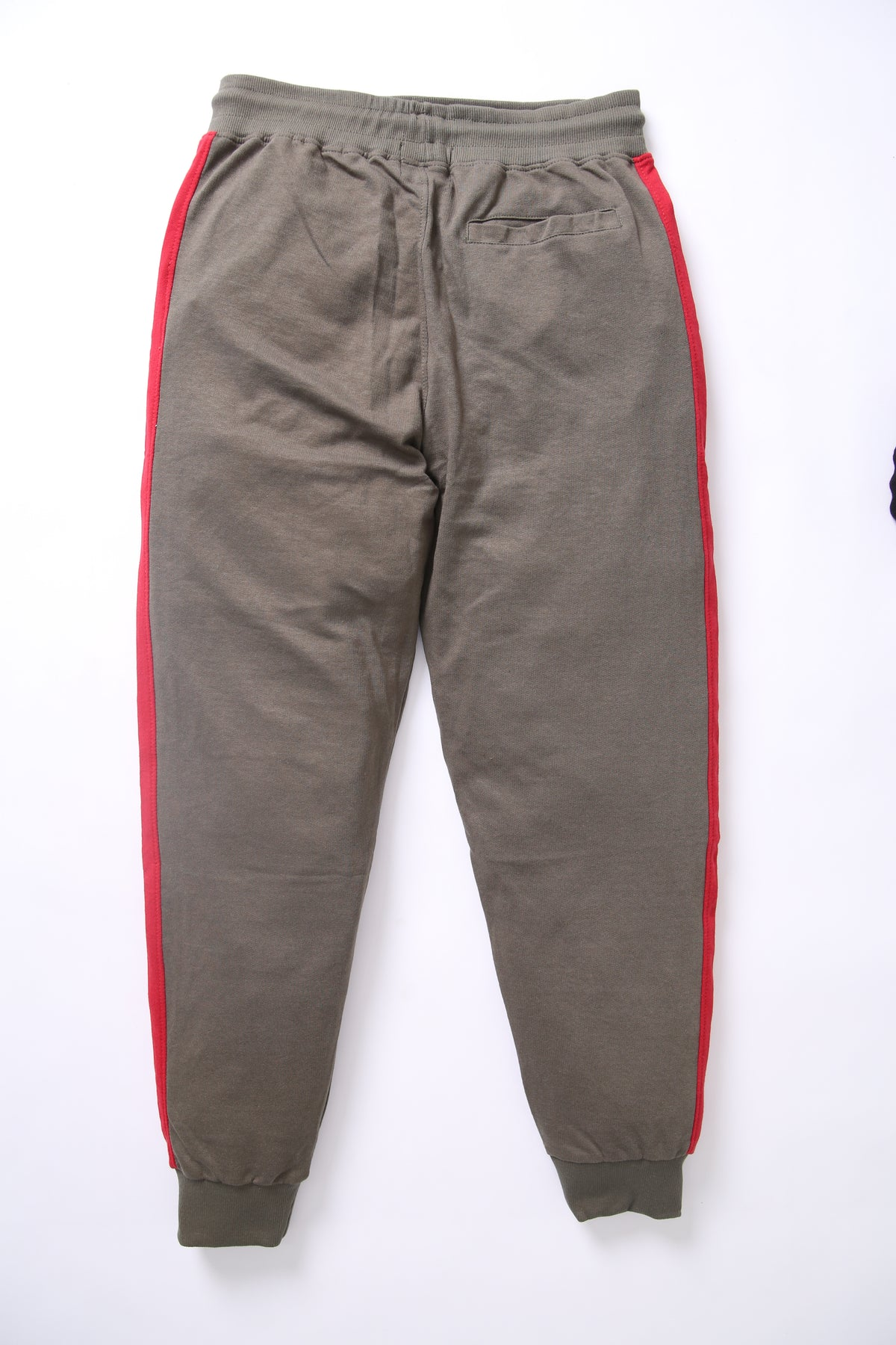BSK - Men Olive Trouser with Quoted Red Stripes