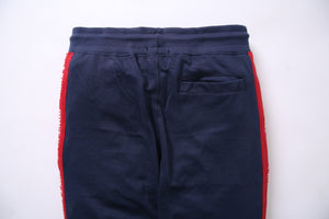 BSK- Men Blue Jogger Trouser with Red Stripes