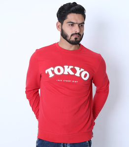 LFTS - Men Printed Red Sweatshirt