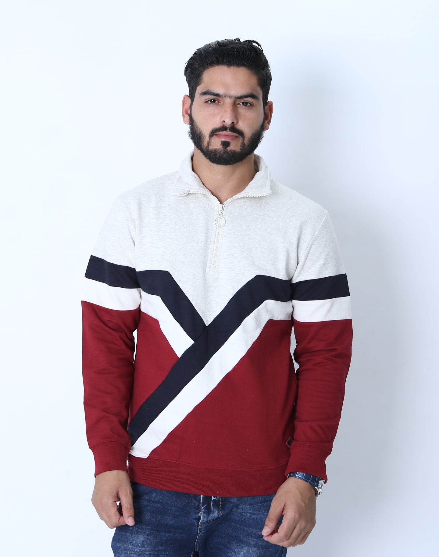 SOUL S - Premium Men's 1/4 Zip Up with Retro Stripes