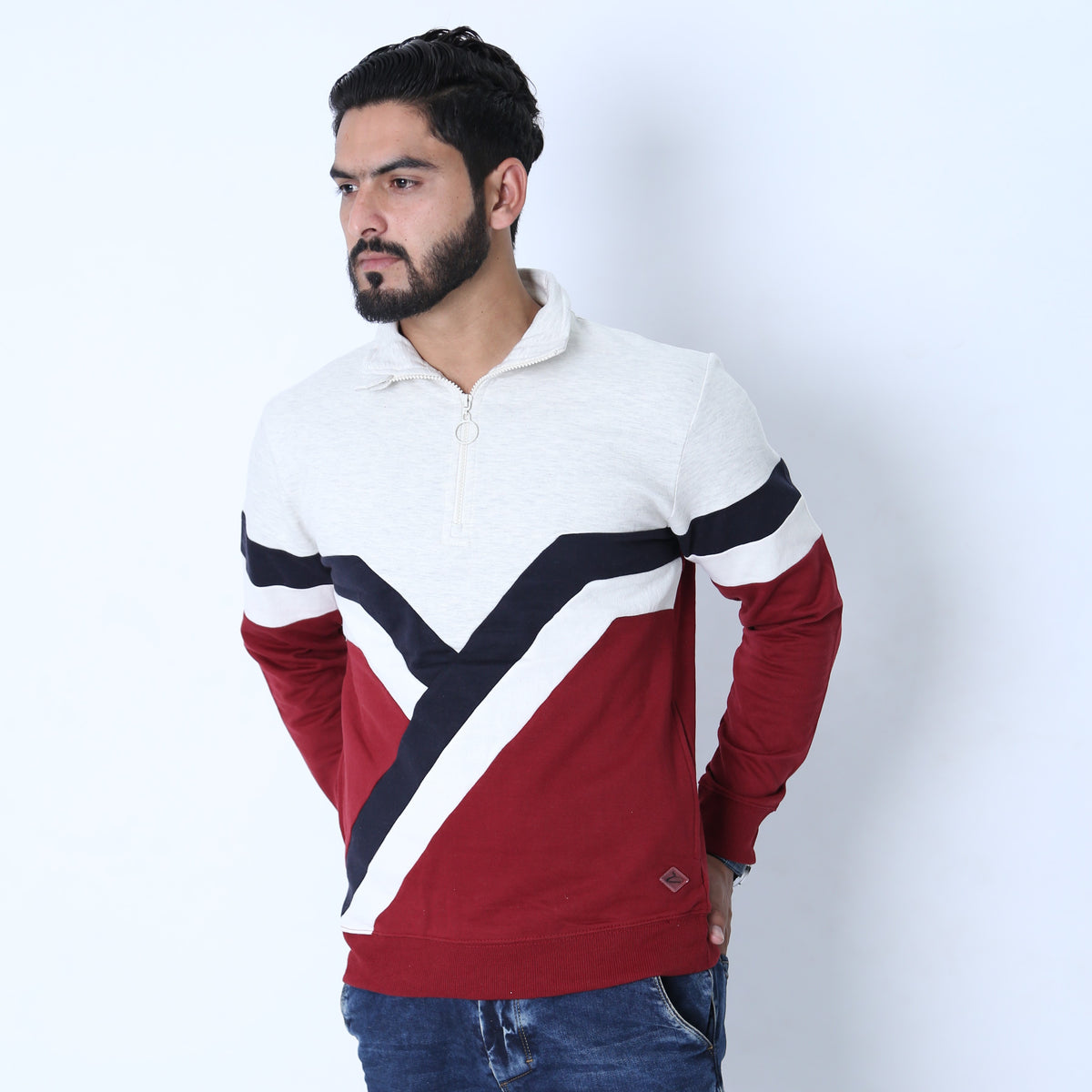SS Premium Men's 1/4 Zip Up with Retro Stripes