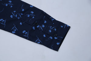 C & A - SLIM FIT PRINTED BLUE SHIRT