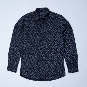 C & A - SLIM FIT PRINTED BLACK  SHIRT