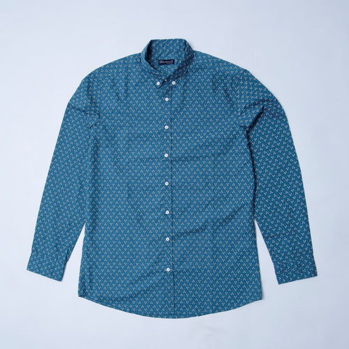 C & A - SLIM FIT PRINTED GREEN  SHIRT