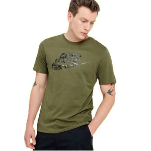 NIKE-Camo logo crew neck Army Green T-Shirt