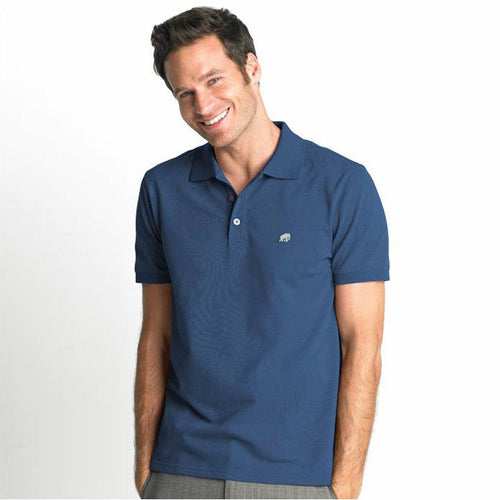 BANANA - Signature pique majolica blue polo