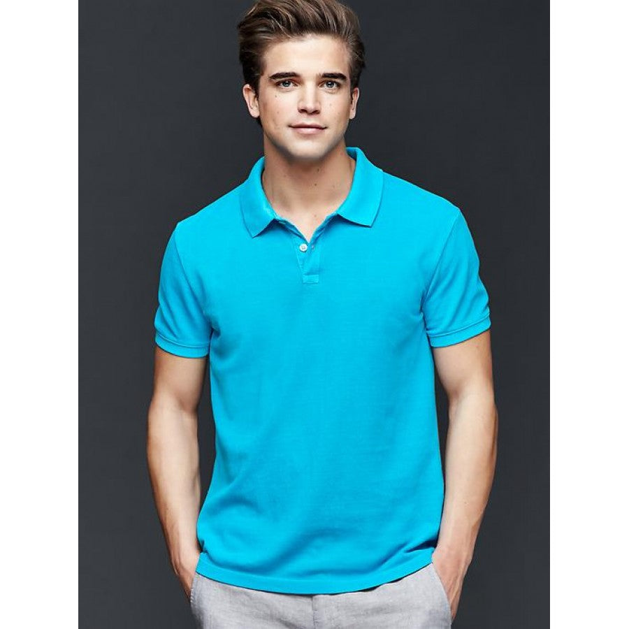 GAP - Short Sleeve Pique Blue Polo