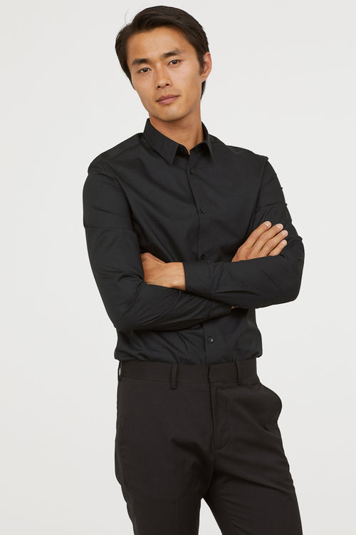 HNM - Easy iron Slim Fit Black Shirt