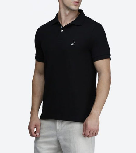NAT IC SHORT SLEEVE BLACK SLIM FIT PERFORMANCE DECK POLO