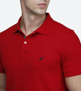 NAUTICA SHORT SLEEVE RED SLIM FIT PERFORMANCE DECK POLO