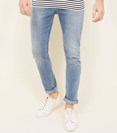 NEW LK - Pale Blue Vintage Wash Slim Fit Jeans