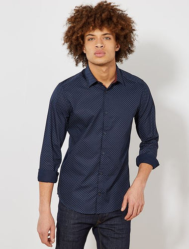 KIABI - Blue Poplin Fitted shirt with stripes and polka dots
