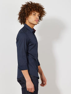 KIA BE - Blue Poplin Fitted shirt with stripes and polka dots