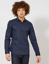 Load image into Gallery viewer, KIA BE - Blue Poplin Fitted shirt with stripes and polka dots