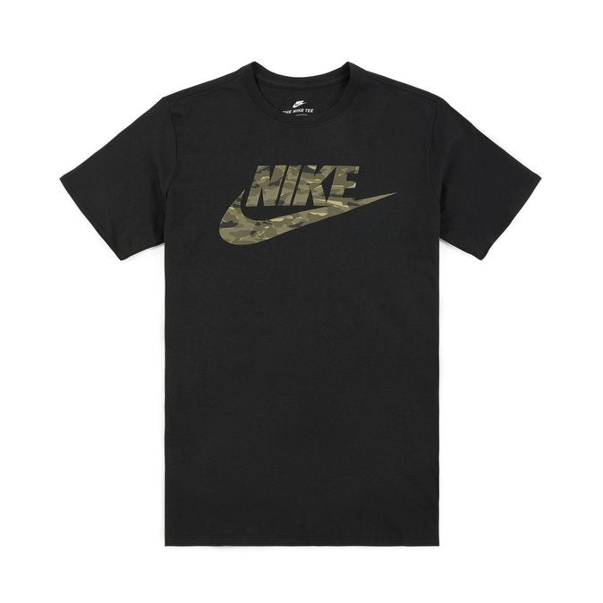 NIKE- Camo Logo Crew Neck Black T-Shirt