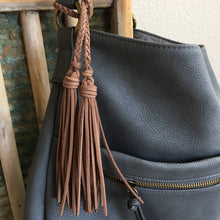 Load image into Gallery viewer, Bag Charm with Double Tassel for Handbag Purse Keys & Totes Faux Suede Leather