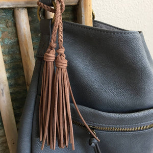 Bag Charm with Double Tassel for Handbag Purse Keys & Totes Faux Suede Leather