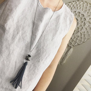 Long Chain Tassel Necklace for Layering - Faux Leather Tassel + Himalayan River Stone
