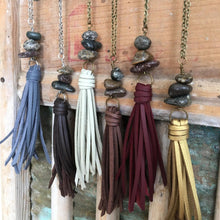 Load image into Gallery viewer, Long Chain Tassel Necklace for Layering - Faux Leather Tassel + Himalayan River Stone