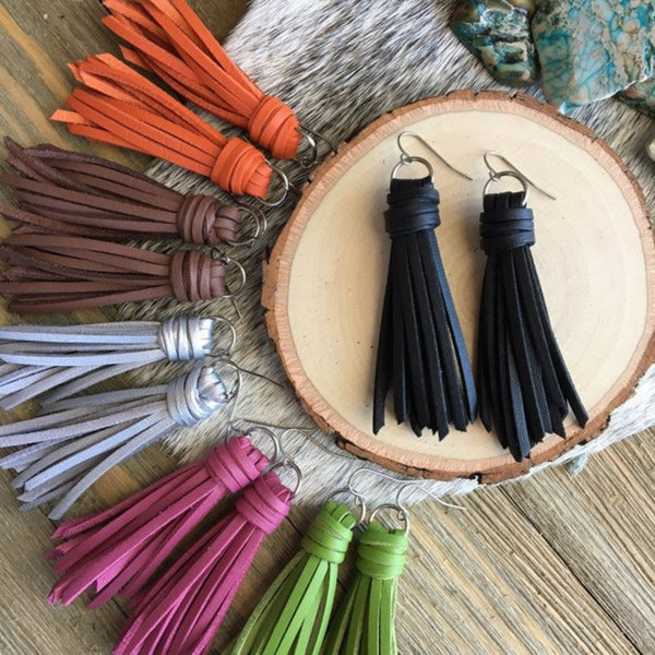 "Fringe Tassel Earrings in Faux Leather - Choose your Color + Finish - 2.5"" Long"