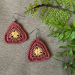 Crocheted Triangle Earrings in Pink, Rose and Yellow