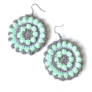 Crocheted Bobbles - Large Circle Earrings in Mint and Gray