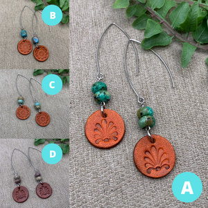 Leather Earing Gift Set Trio in Red, Turquoise and Warm Brown