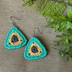 Crocheted Triangle Earrings in Blue, Yellow and Gray