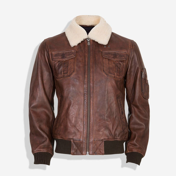 Collar Bomber Leather Jacket, Brown