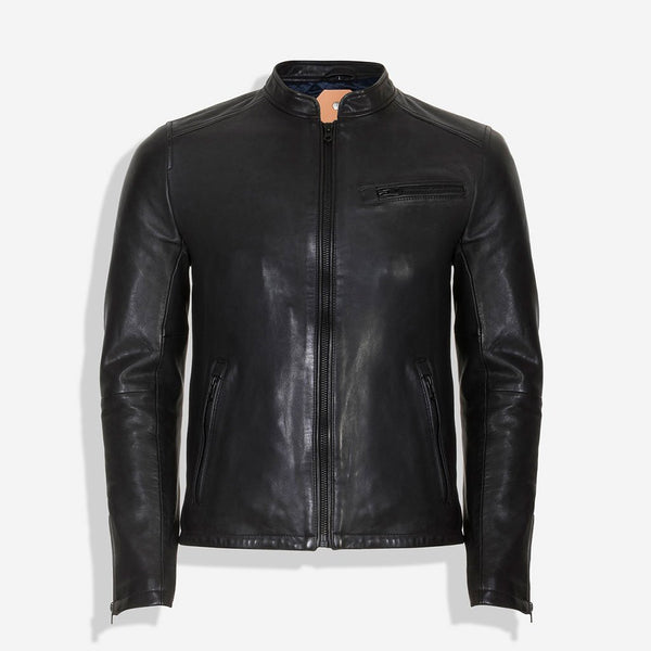 Mandarin Collar Leather Jacket, Black