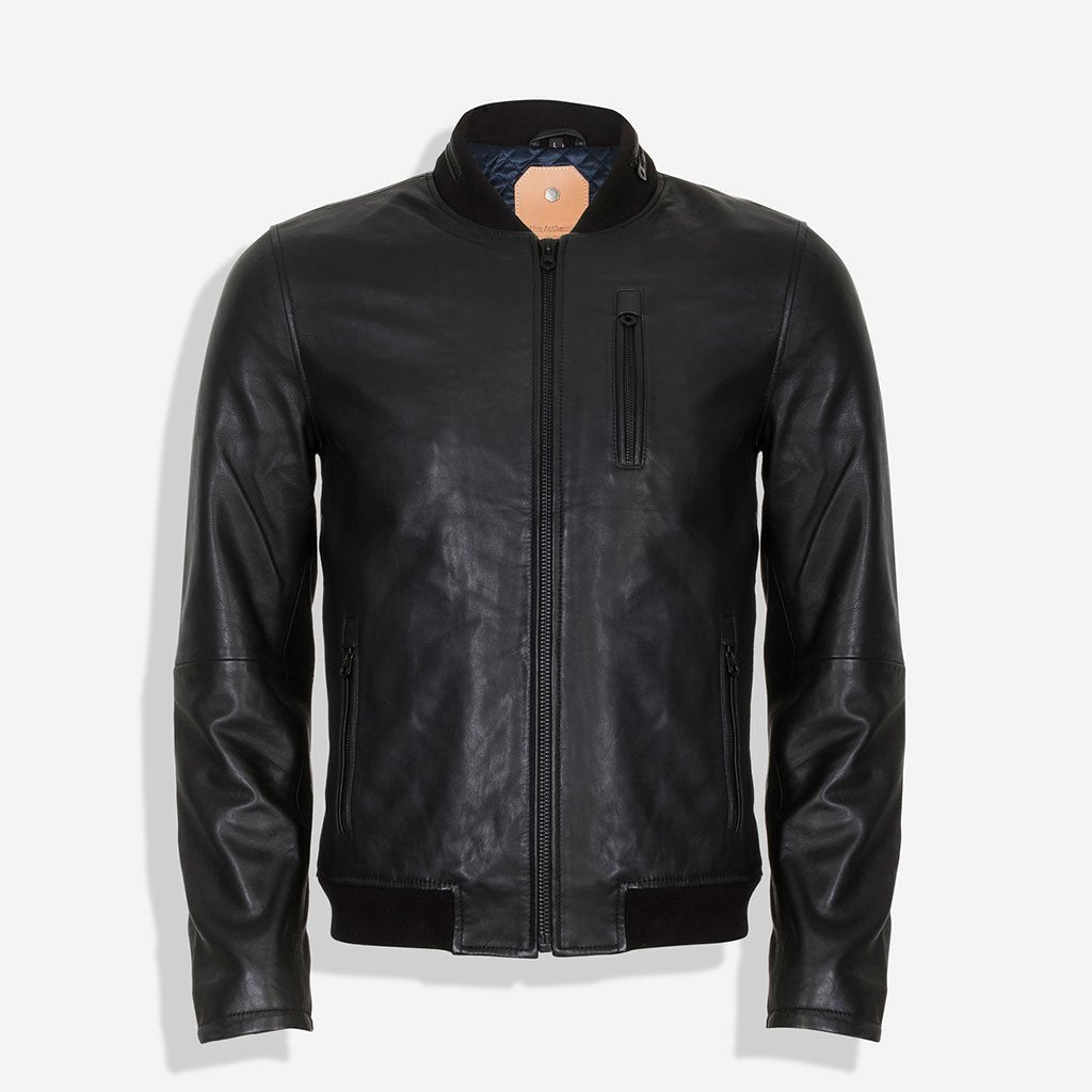 Standing Collar Bomber Leather Jacket