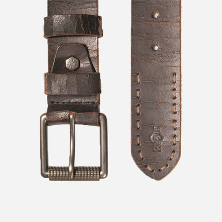 Distressed Leather Mens Belt, Brown