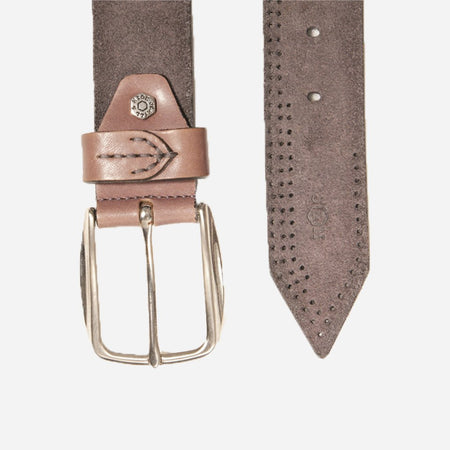Suede Leather Belt, Grey