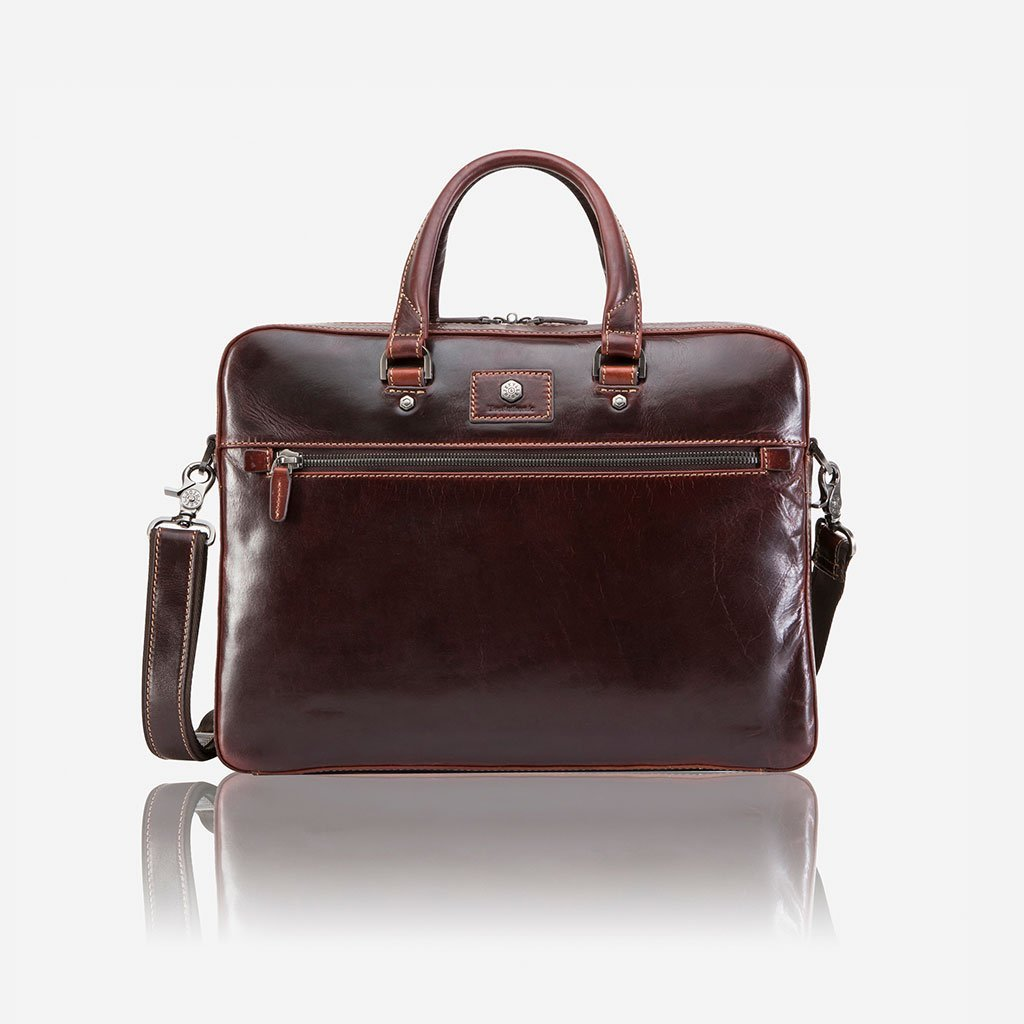 Slim Zip Top Briefcase, Tobacco