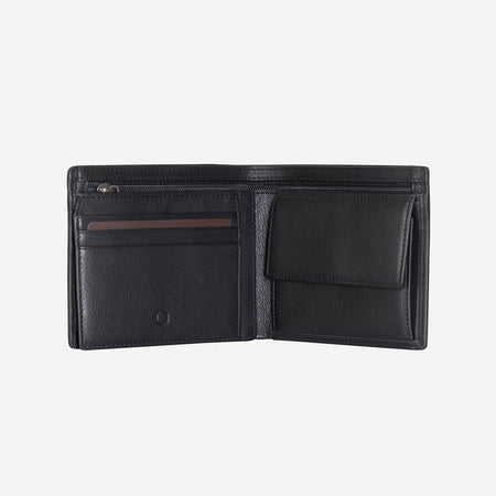 Large Billfold Wallet With Coin, Soft Black