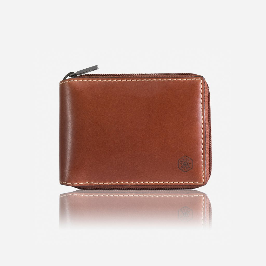 Large Zip Around Wallet With Coin, Black