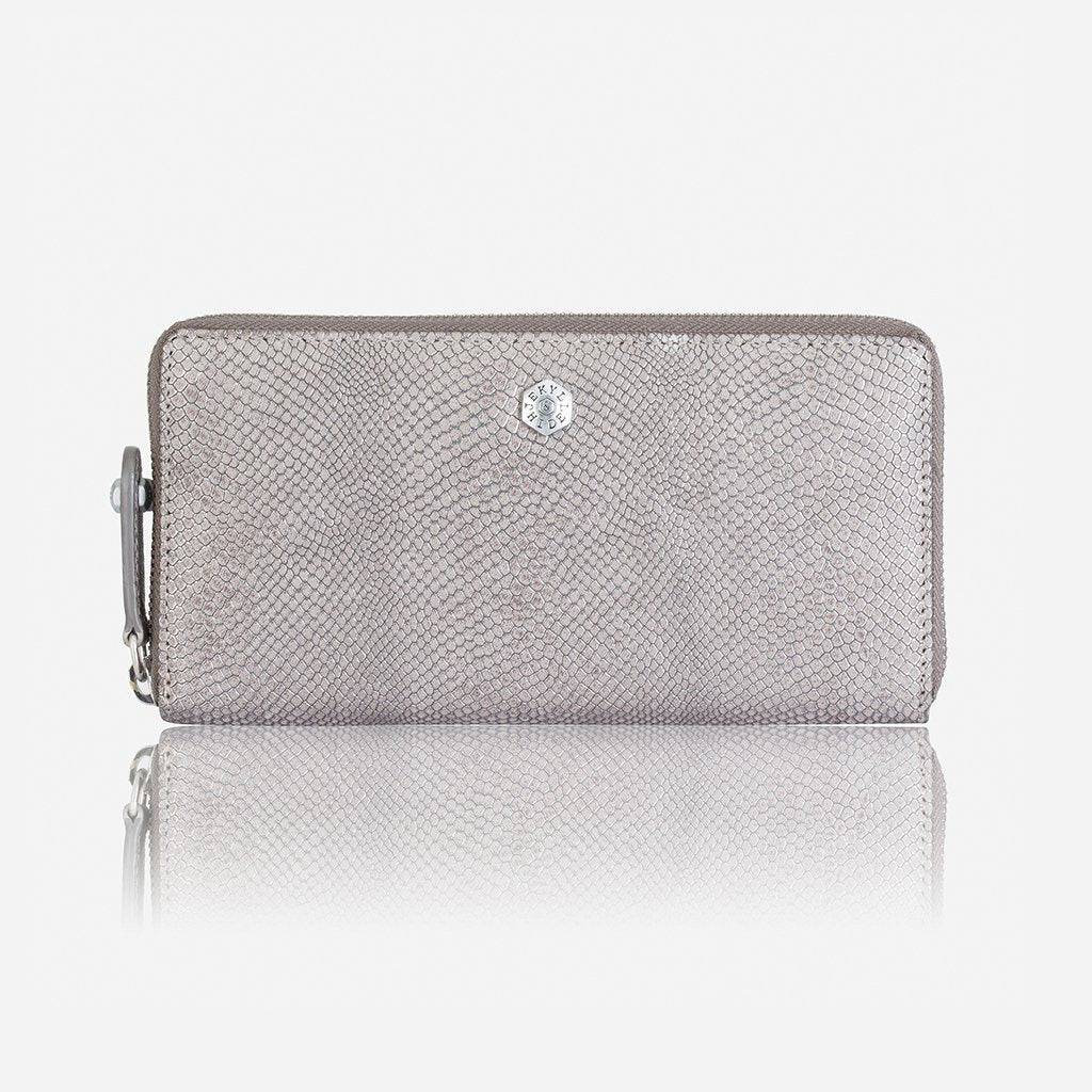 Large Metallic Zip Around Ladies Wallet, Grey