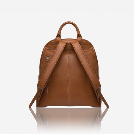 Casual Ladies Zip-Top Backpack, Tan
