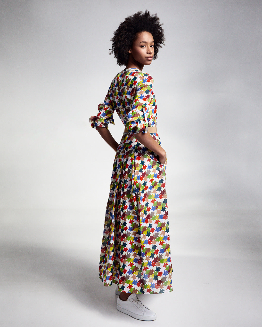Imi Knoebel's Kinderstern as allover print on cotton voile maxi dress featuring a pleated skirt