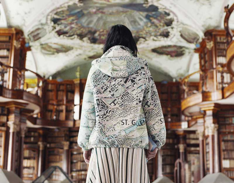 Woman from back with St Gallen Embroidery  Jacket