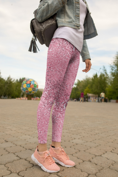 High Waist Pink Crystal Leggings