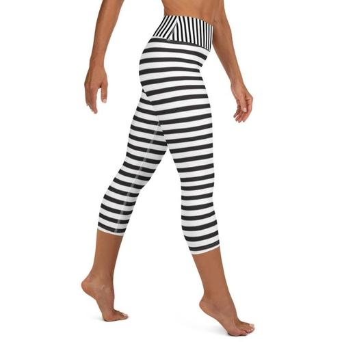 High Waist Black and White Striped Capris