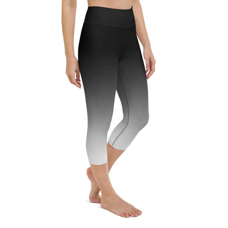 High Waist Black White Ombre Capris