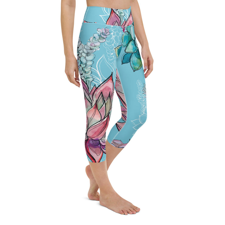 High Waist Blue Big Flower Flex Capris