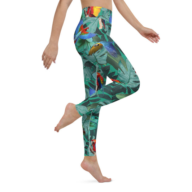 High Waist Tropical Parrot Leggings