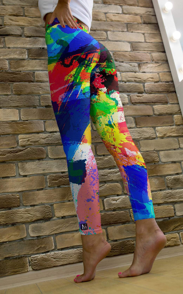 High Waist Artist Paint Brush Leggings
