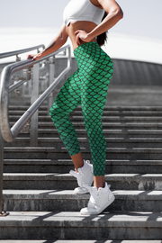 High Waist Green Mermaid Capris