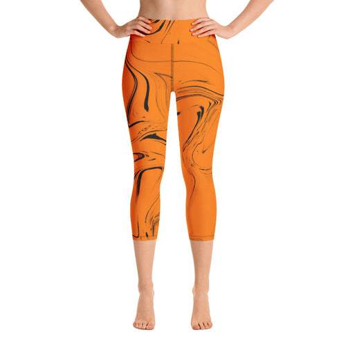 High Waist Liquid Orange Capris