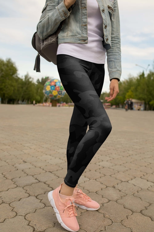 High Waist Black Camo Leggings