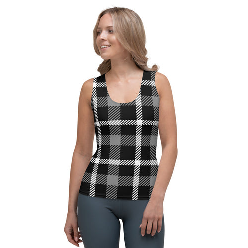 Black White Plaid Flex Tank Top
